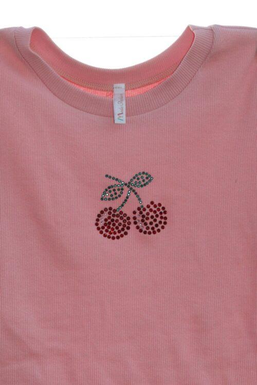 cseresznye mintás strasszköves rózsaszín női rövid ujjú póló