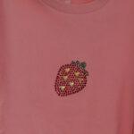 Eper mintás strasszköves rózsaszín női rövid ujjú póló
