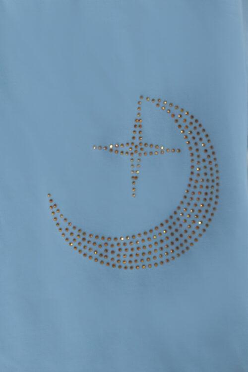 Hold mintás strasszköves kék női rövid ujjú póló