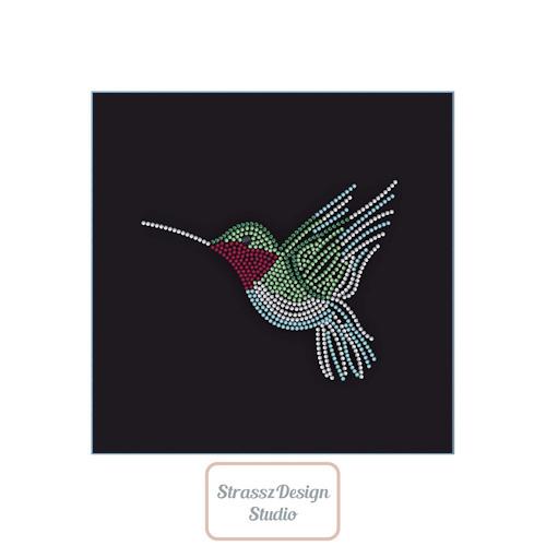 Vasalható strassz kolibri minta